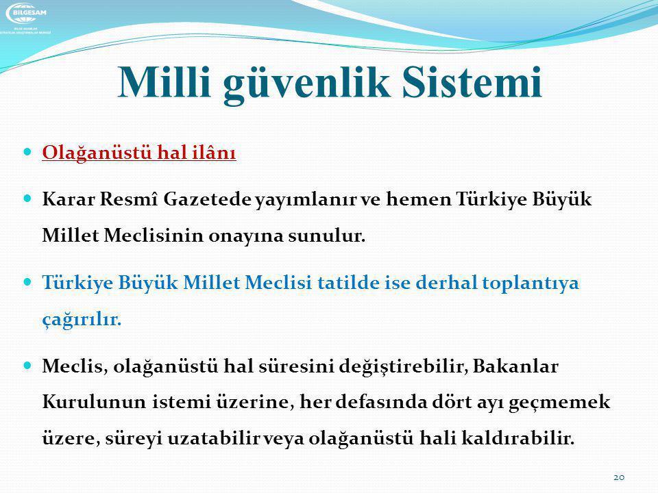 Milli güvenlik Sistemi  Olağanüstü hal ilânı  Karar Resmî Gazetede yayımlanır ve hemen Türkiye Büyük Millet Meclisinin onayına sunulur.  Türkiye Bü