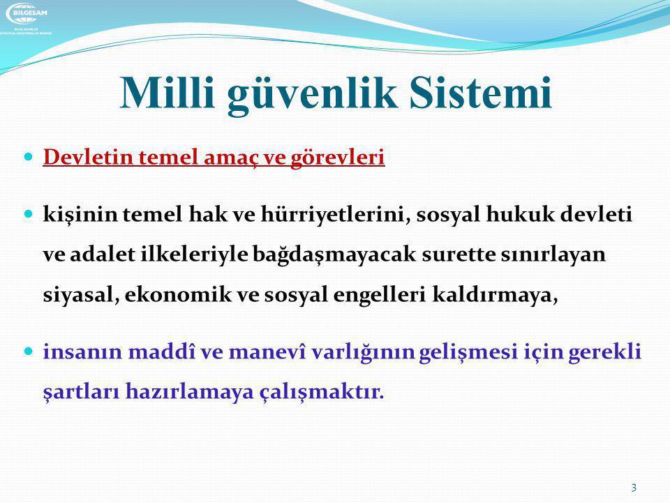 Milli güvenlik Sistemi  Devletin temel amaç ve görevleri  kişinin temel hak ve hürriyetlerini, sosyal hukuk devleti ve adalet ilkeleriyle bağdaşmaya