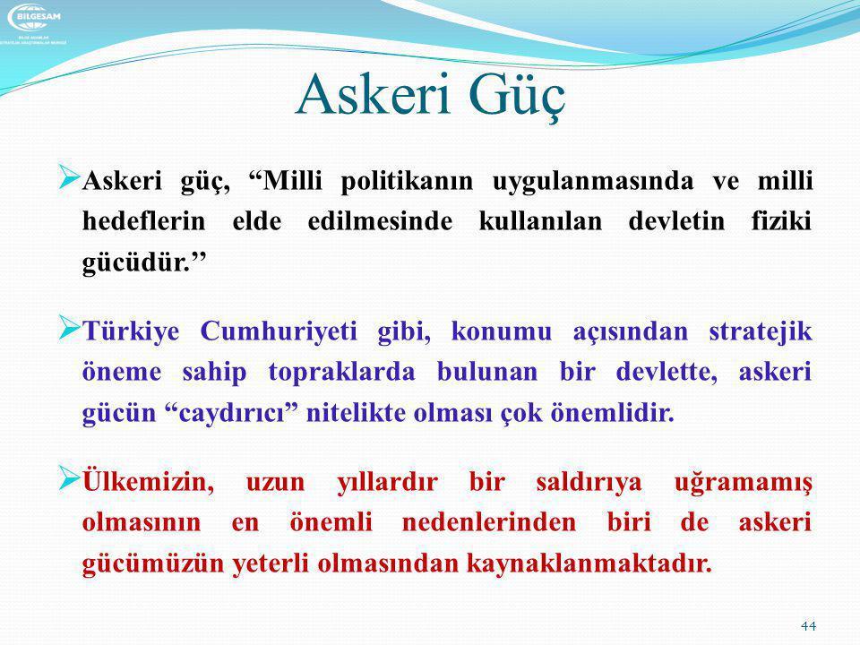 """Askeri Güç  Askeri güç, """"Milli politikanın uygulanmasında ve milli hedeflerin elde edilmesinde kullanılan devletin fiziki gücüdür.''  Türkiye Cumhur"""