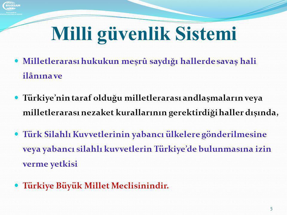 Milli güvenlik Sistemi  Milletlerarası hukukun meşrû saydığı hallerde savaş hali ilânına ve  Türkiye'nin taraf olduğu milletlerarası andlaşmaların v