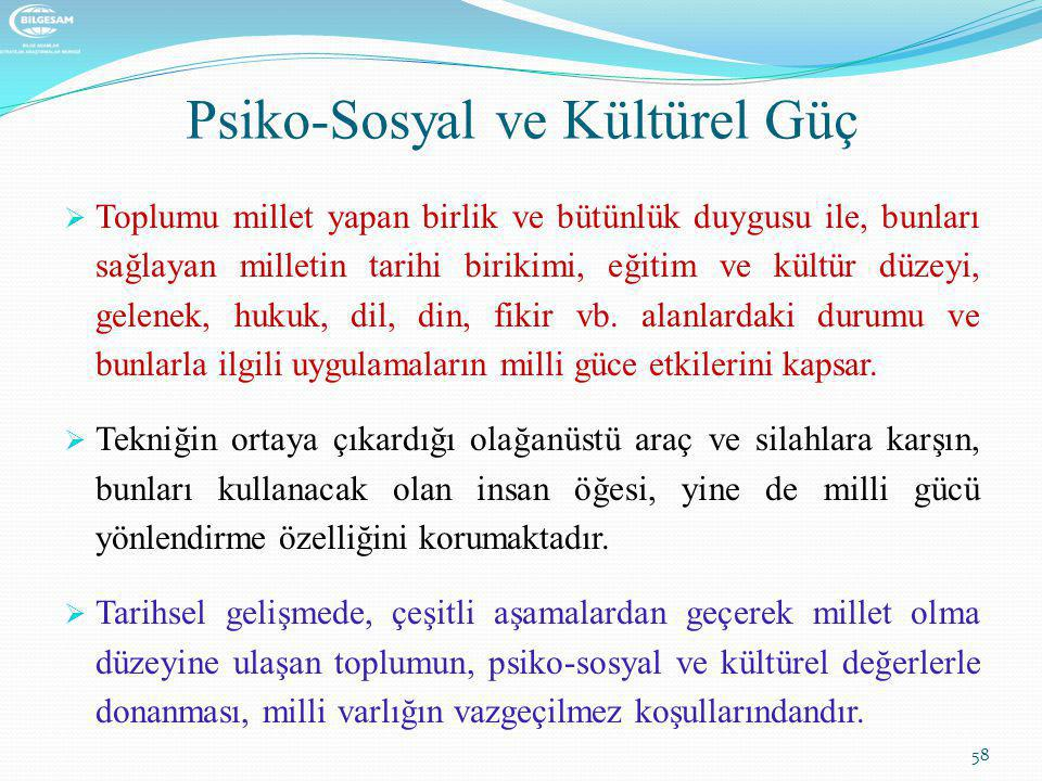 Psiko-Sosyal ve Kültürel Güç  Toplumu millet yapan birlik ve bütünlük duygusu ile, bunları sağlayan milletin tarihi birikimi, eğitim ve kültür düzeyi