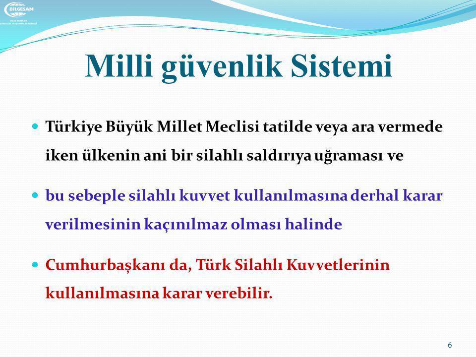 Milli güvenlik Sistemi  Cumhurbaşkanının Yürütme Alanına İlişkin Görev ve yetkileri  Türkiye Büyük Millet Meclisi adına Türk Silahlı Kuvvetlerinin Başkomutanlığını temsil etmek,  Türk Silahlı Kuvvetlerinin kullanılmasına karar vermek,  Genelkurmay Başkanını atamak, 7