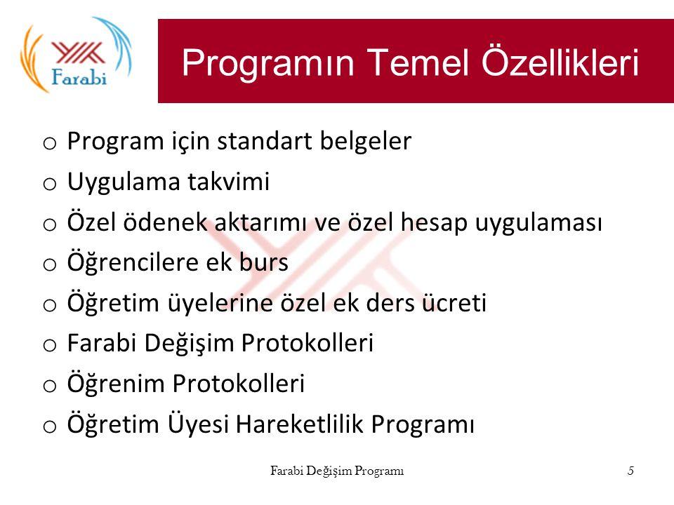 Farabi Değişim Programı5 Programın Temel Özellikleri o Program için standart belgeler o Uygulama takvimi o Özel ödenek aktarımı ve özel hesap uygulaması o Öğrencilere ek burs o Öğretim üyelerine özel ek ders ücreti o Farabi Değişim Protokolleri o Öğrenim Protokolleri o Öğretim Üyesi Hareketlilik Programı