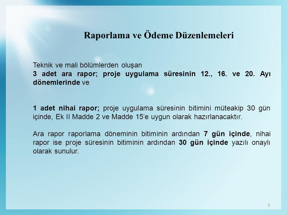 3 Raporlama ve Ödeme Düzenlemeleri Teknik ve mali bölümlerden oluşan 3 adet ara rapor; proje uygulama süresinin 12., 16. ve 20. Ayı dönemlerinde ve 1
