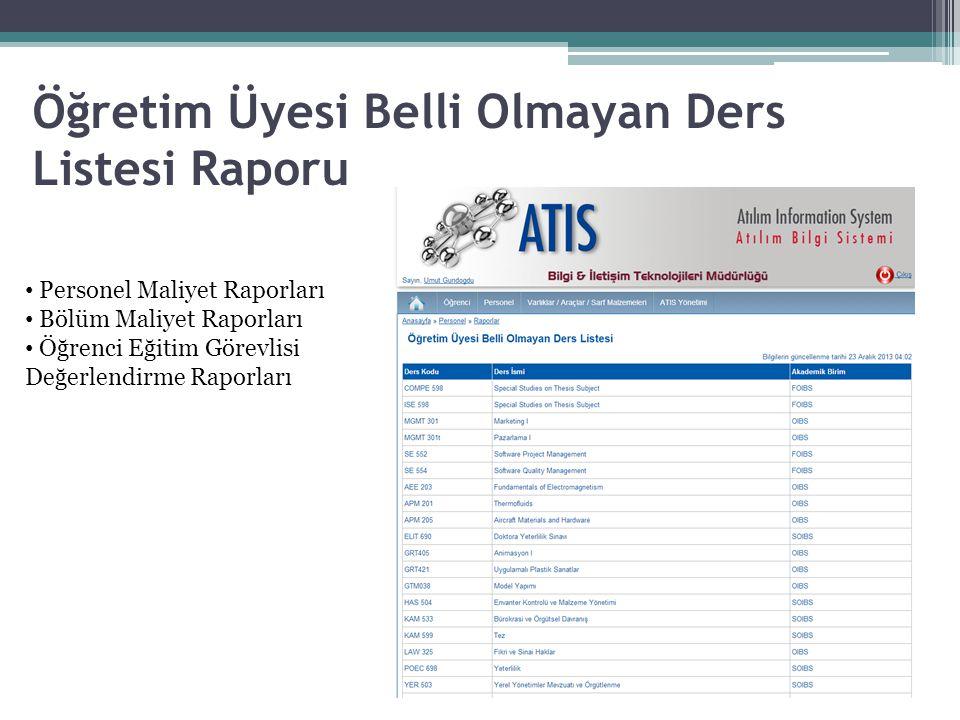 Öğretim Üyesi Belli Olmayan Ders Listesi Raporu • Personel Maliyet Raporları • Bölüm Maliyet Raporları • Öğrenci Eğitim Görevlisi Değerlendirme Raporları