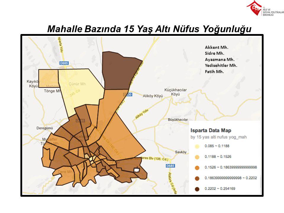 Mahalle Bazında 15 Yaş Altı Nüfus Yoğunluğu Akkent Mh. Sidre Mh. Ayazmana Mh. Yedisehitler Mh. Fatih Mh.