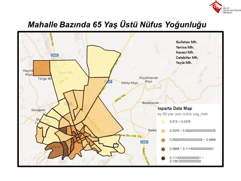 Mahalle Bazında 65 Yaş Üstü Nüfus Yoğunluğu Gulistan Mh. Yenice Mh. Kececi Mh. Celebiler Mh. Yayla Mh.