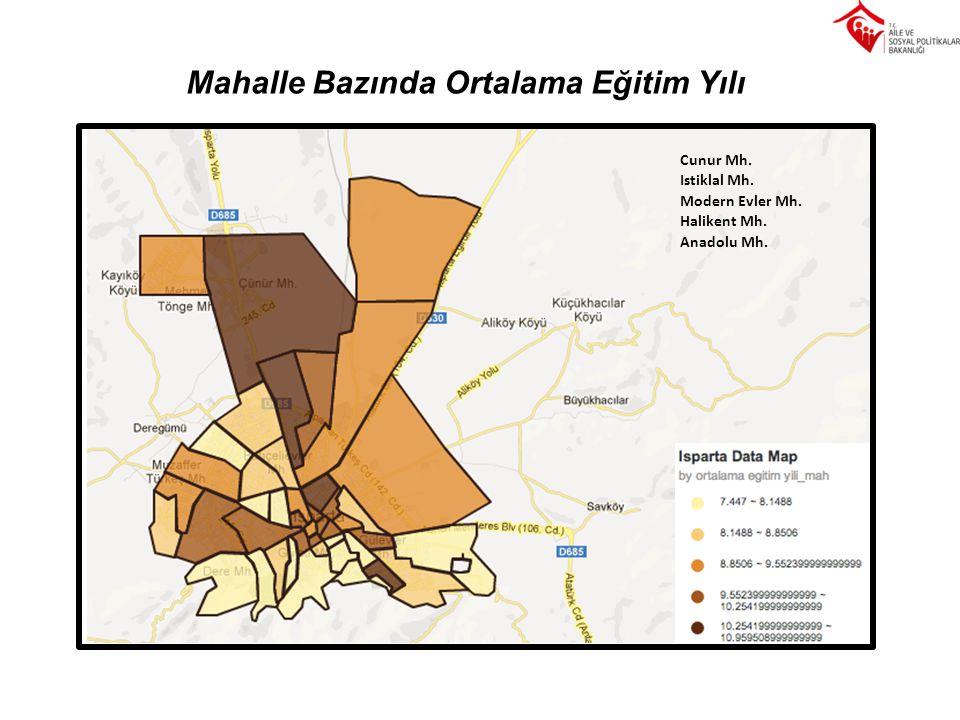 Mahalle Bazında Ortalama Eğitim Yılı Cunur Mh. Istiklal Mh. Modern Evler Mh. Halikent Mh. Anadolu Mh.