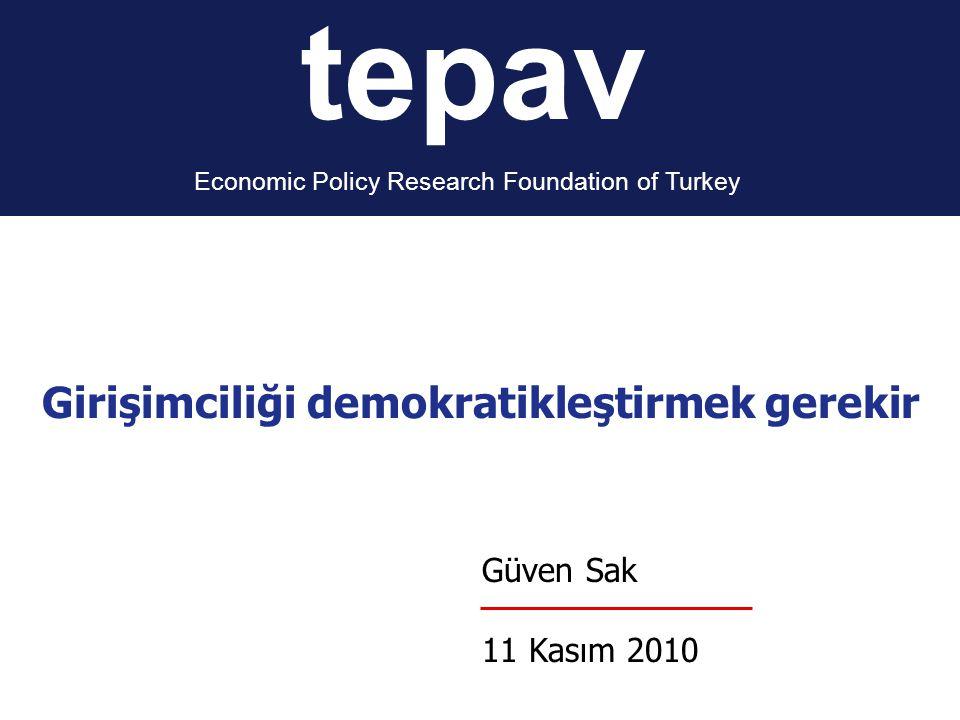 tepav Economic Policy Research Foundation of Turkey Güven Sak 11 Kasım 2010 Girişimciliği demokratikleştirmek gerekir