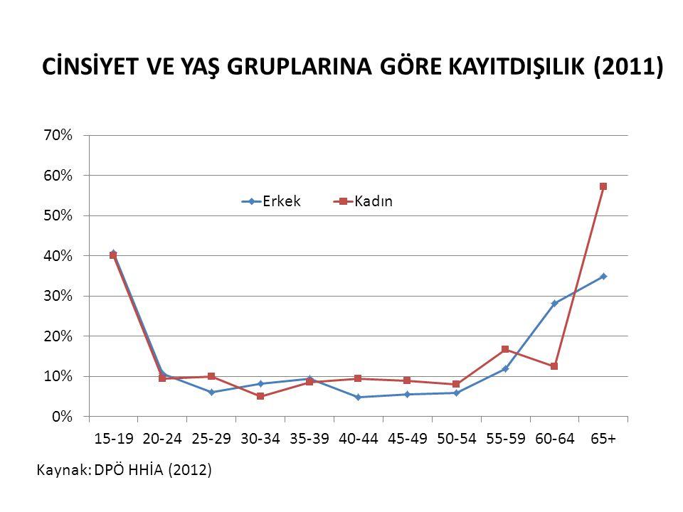 CİNSİYET VE YAŞ GRUPLARINA GÖRE KAYITDIŞILIK (2011) Kaynak: DPÖ HHİA (2012)