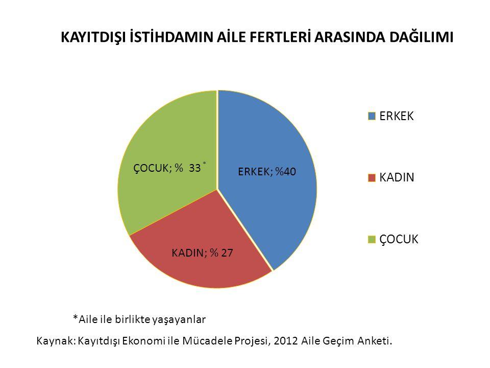 KAYITDIŞI İSTİHDAMIN AİLE FERTLERİ ARASINDA DAĞILIMI Kaynak: Kayıtdışı Ekonomi ile Mücadele Projesi, 2012 Aile Geçim Anketi. *Aile ile birlikte yaşaya