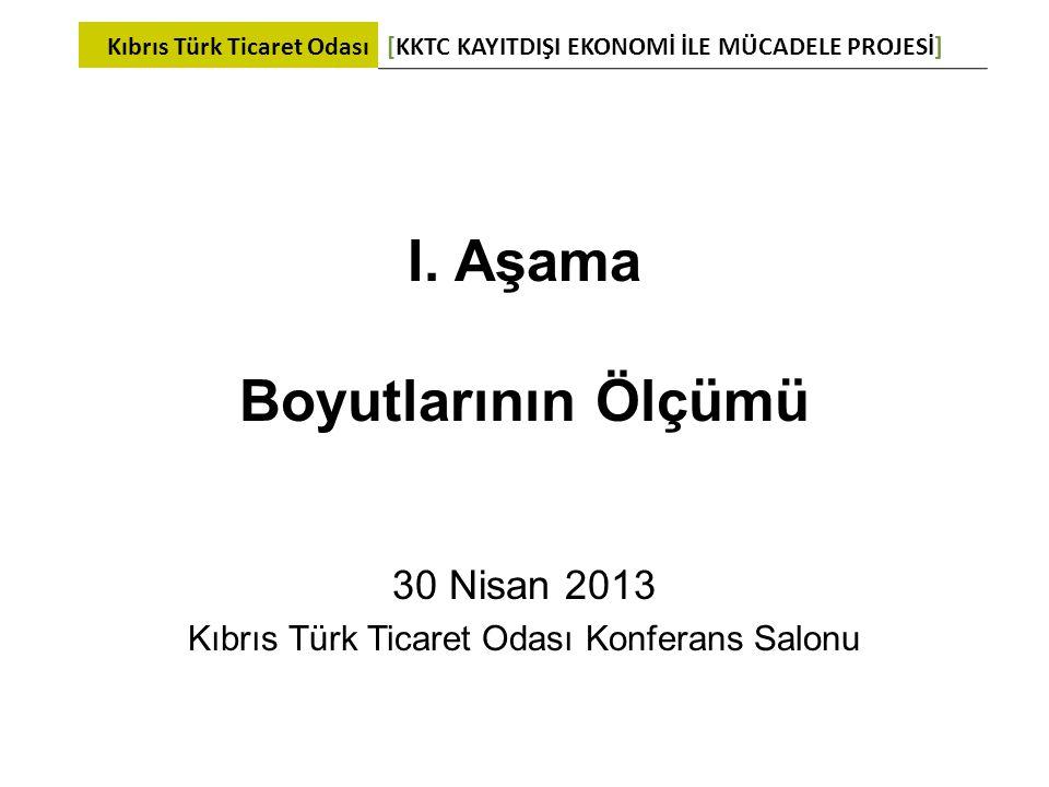 I. Aşama Boyutlarının Ölçümü 30 Nisan 2013 Kıbrıs Türk Ticaret Odası Konferans Salonu Kıbrıs Türk Ticaret Odası[KKTC KAYITDIŞI EKONOMİ İLE MÜCADELE PR