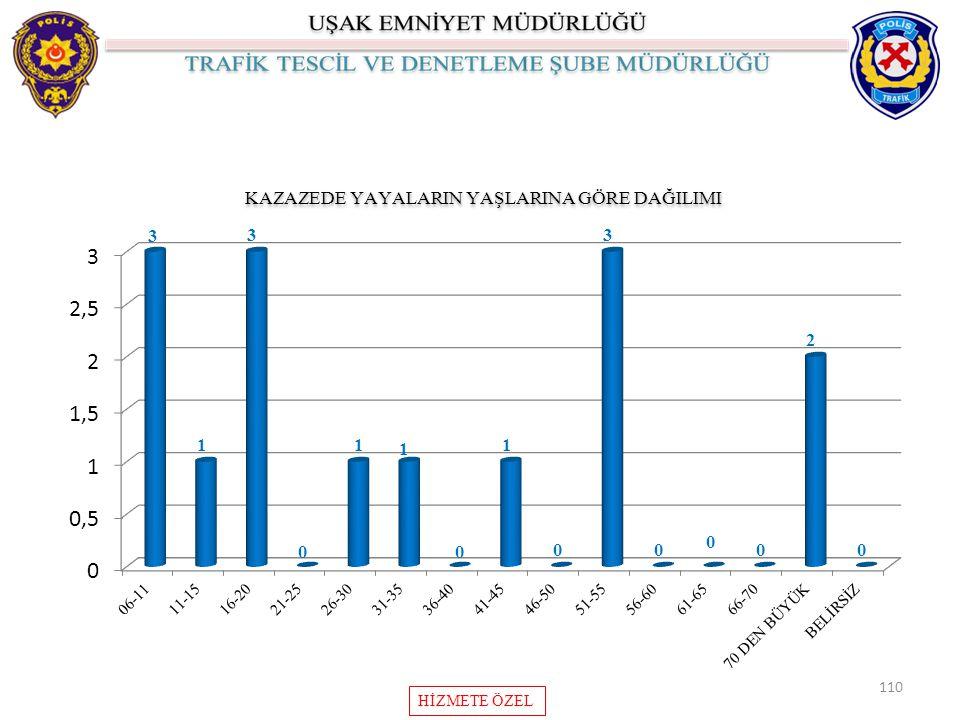 110 KAZAZEDE YAYALARIN YAŞLARINA GÖRE DAĞILIMI HİZMETE ÖZEL