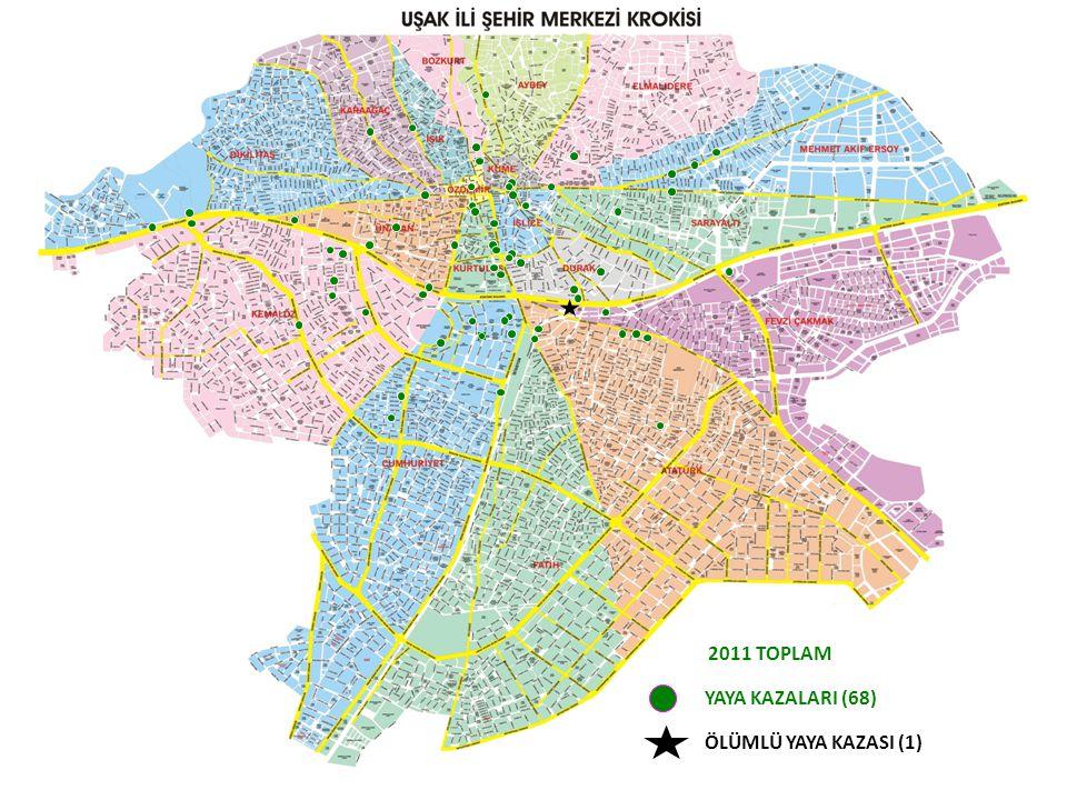 YAYA KAZALARI (68) 2011 TOPLAM ÖLÜMLÜ YAYA KAZASI (1)
