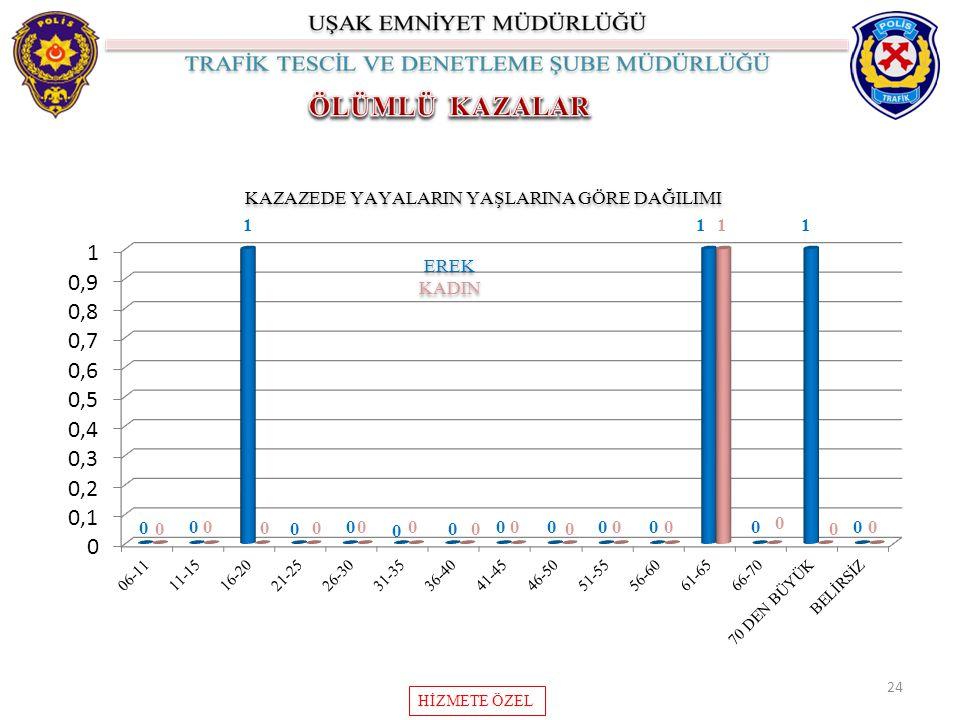 24 KAZAZEDE YAYALARIN YAŞLARINA GÖRE DAĞILIMI HİZMETE ÖZEL