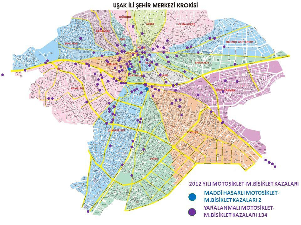 YARALANMALI MOTOSİKLET- M.BİSİKLET KAZALARI 134 MADDİ HASARLI MOTOSİKLET- M.BİSİKLET KAZALARI 2 2012 YILI MOTOSİKLET-M.BİSİKLET KAZALARI