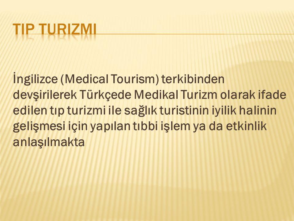 İngilizce (Medical Tourism) terkibinden devşirilerek Türkçede Medikal Turizm olarak ifade edilen tıp turizmi ile sağlık turistinin iyilik halinin geli