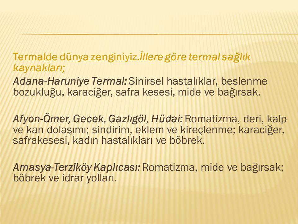 Termalde dünya zenginiyiz.İllere göre termal sağlık kaynakları; Adana-Haruniye Termal: Sinirsel hastalıklar, beslenme bozukluğu, karaciğer, safra kese