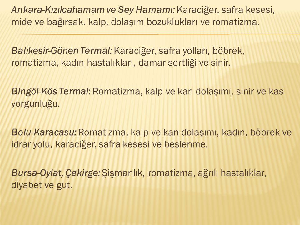 Ankara-Kızılcahamam ve Sey Hamamı: Karaciğer, safra kesesi, mide ve bağırsak. kalp, dolaşım bozuklukları ve romatizma. Balıkesir-Gönen Termal: Karaciğ