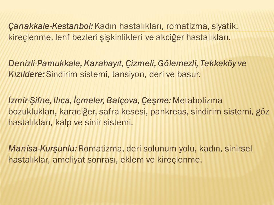 Çanakkale-Kestanbol: Kadın hastalıkları, romatizma, siyatik, kireçlenme, lenf bezleri şişkinlikleri ve akciğer hastalıkları. Denizli-Pamukkale, Karaha