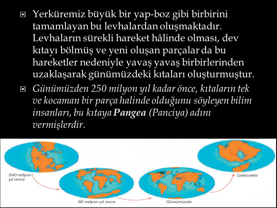  Yerküremiz büyük bir yap-boz gibi birbirini tamamlayan bu levhalardan oluşmaktadır. Levhaların sürekli hareket hâlinde olması, dev kıtayı bölmüş ve