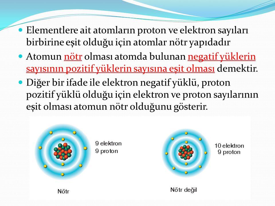  Elementlere ait atomların proton ve elektron sayıları birbirine eşit olduğu için atomlar nötr yapıdadır  Atomun nötr olması atomda bulunan negatif yüklerin sayısının pozitif yüklerin sayısına eşit olması demektir.