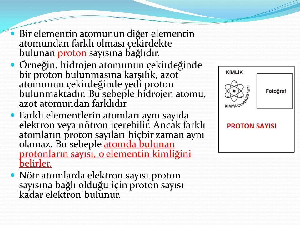  Bir elementin atomunun diğer elementin atomundan farklı olması çekirdekte bulunan proton sayısına bağlıdır.  Örneğin, hidrojen atomunun çekirdeğind