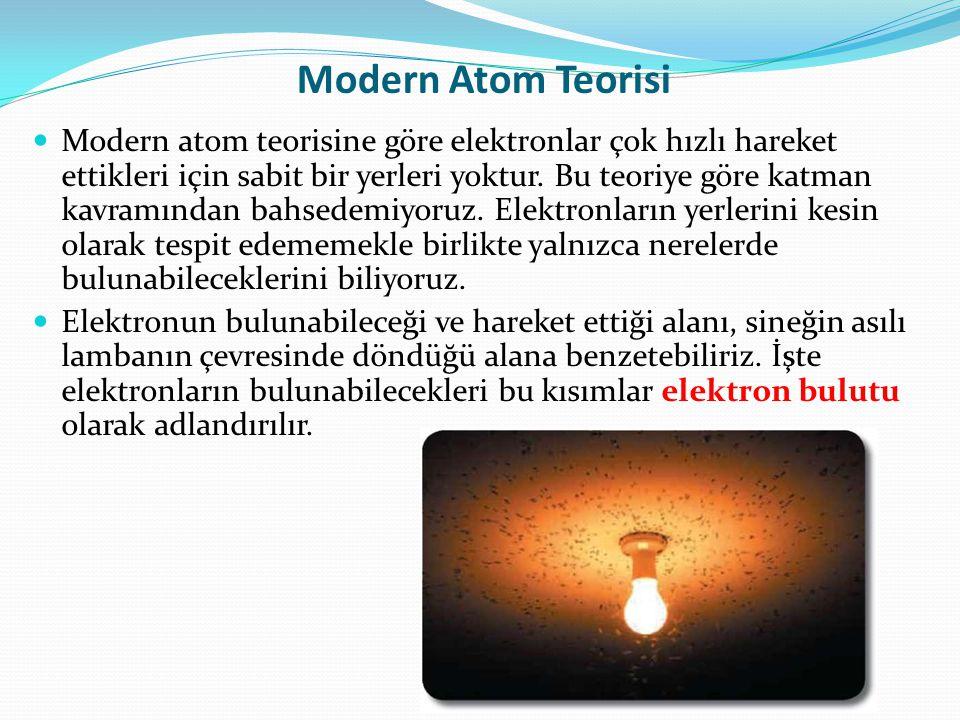 Modern Atom Teorisi  Modern atom teorisine göre elektronlar çok hızlı hareket ettikleri için sabit bir yerleri yoktur. Bu teoriye göre katman kavramı