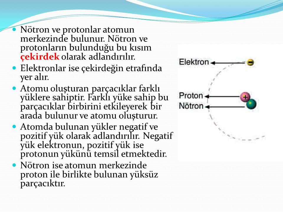  Nötron ve protonlar atomun merkezinde bulunur. Nötron ve protonların bulunduğu bu kısım çekirdek olarak adlandırılır.  Elektronlar ise çekirdeğin e