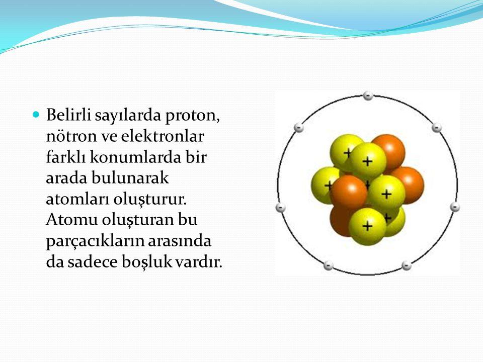  Belirli sayılarda proton, nötron ve elektronlar farklı konumlarda bir arada bulunarak atomları oluşturur. Atomu oluşturan bu parçacıkların arasında