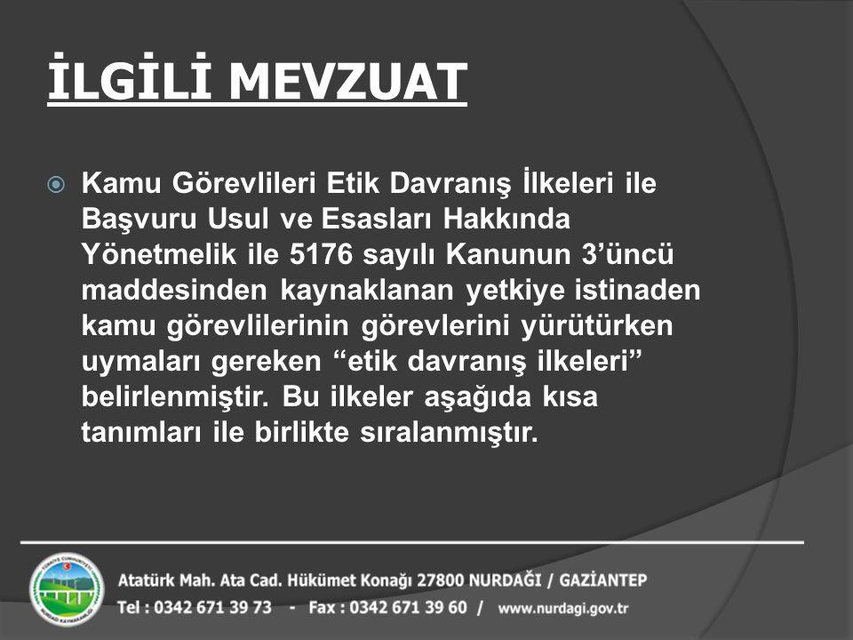 İLGİLİ MEVZUAT  Kamu Görevlileri Etik Davranış İlkeleri ile Başvuru Usul ve Esasları Hakkında Yönetmelik ile 5176 sayılı Kanunun 3'üncü maddesinden k