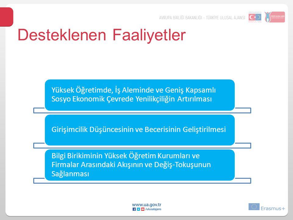 Desteklenen Faaliyetler Yüksek Öğretimde, İş Aleminde ve Geniş Kapsamlı Sosyo Ekonomik Çevrede Yenilikçiliğin Artırılması Girişimcilik Düşüncesinin ve
