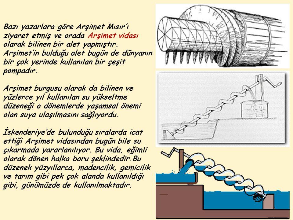 Bazı yazarlara göre Arşimet Mısır'ı ziyaret etmiş ve orada Arşimet vidası olarak bilinen bir alet yapmıştır.