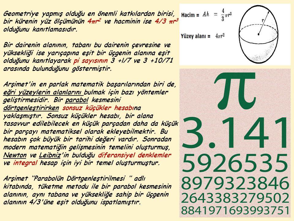 Geometriye yapmış olduğu en önemli katkılardan birisi, bir kürenin yüz ölçümünün 4πr 2 ve hacminin ise 4/3 πr 3 olduğunu kanıtlamasıdır.