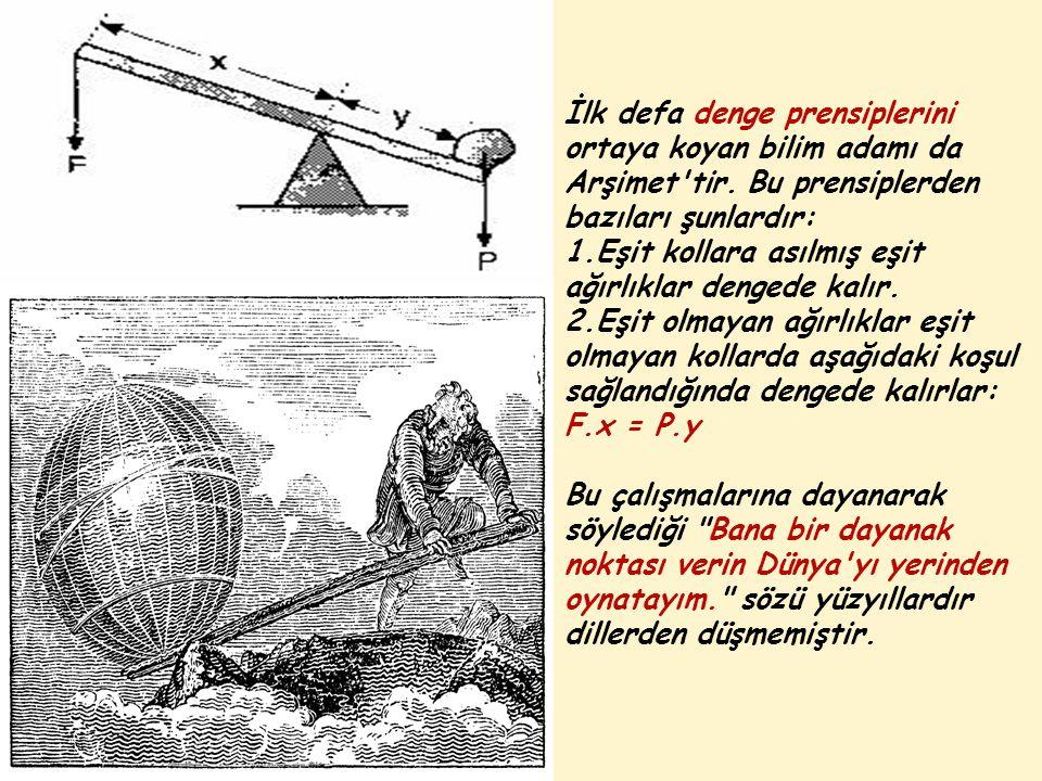 İlk defa denge prensiplerini ortaya koyan bilim adamı da Arşimet tir.