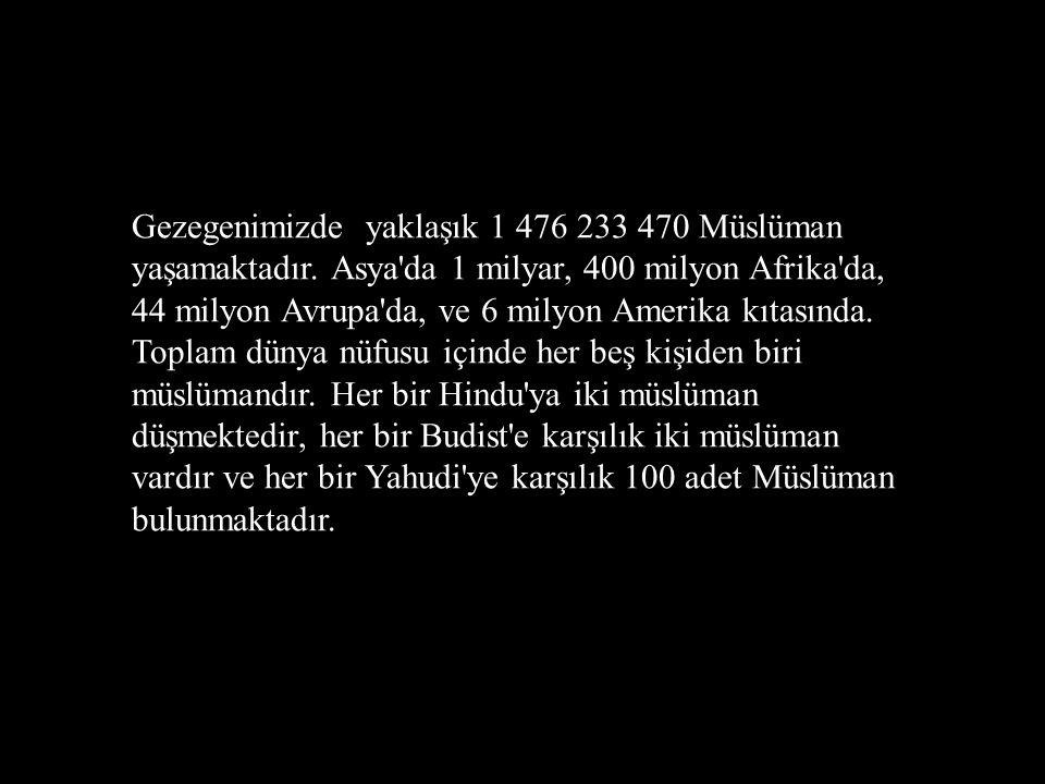 Gezegenimizde yaklaşık 1 476 233 470 Müslüman yaşamaktadır. Asya'da 1 milyar, 400 milyon Afrika'da, 44 milyon Avrupa'da, ve 6 milyon Amerika kıtasında