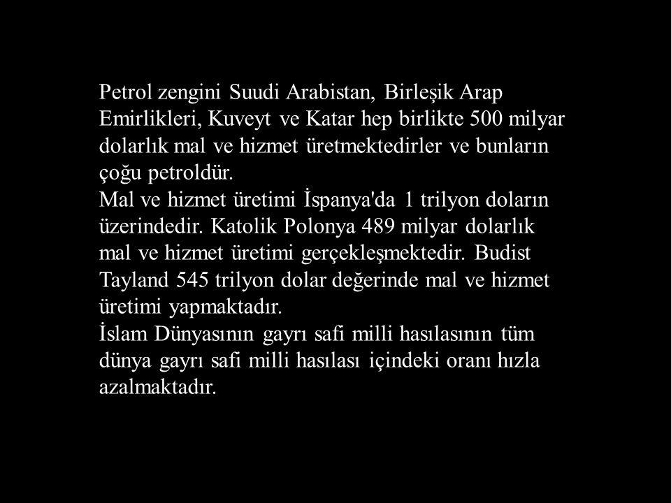 Petrol zengini Suudi Arabistan, Birleşik Arap Emirlikleri, Kuveyt ve Katar hep birlikte 500 milyar dolarlık mal ve hizmet üretmektedirler ve bunların