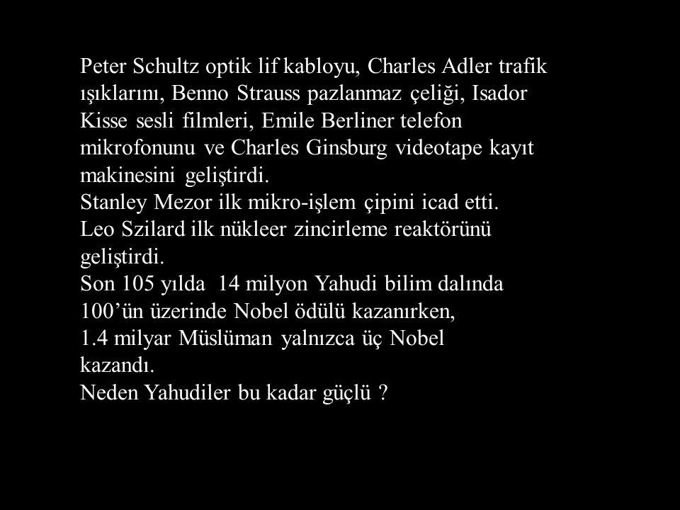 Peter Schultz optik lif kabloyu, Charles Adler trafik ışıklarını, Benno Strauss pazlanmaz çeliği, Isador Kisse sesli filmleri, Emile Berliner telefon