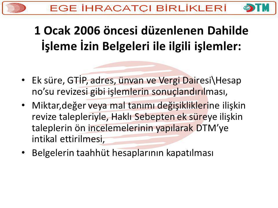 1 Ocak 2006 öncesi düzenlenen Dahilde İşleme İzin Belgeleri ile ilgili işlemler: • Ek süre, GTİP, adres, ünvan ve Vergi Dairesi\Hesap no'su revizesi g