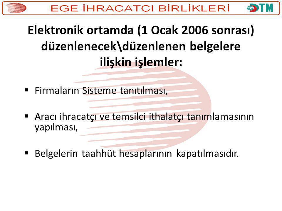 Elektronik ortamda (1 Ocak 2006 sonrası) düzenlenecek\düzenlenen belgelere ilişkin işlemler:  Firmaların Sisteme tanıtılması,  Aracı ihracatçı ve te