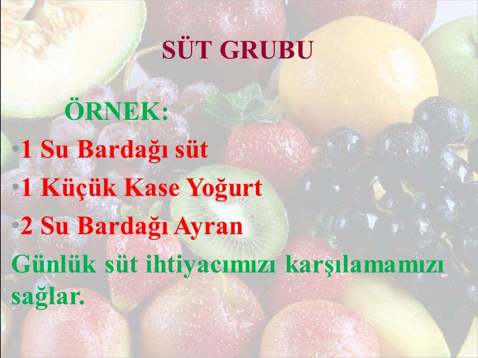 SEBZE VE MEYVE GRUBU • Günde 3- 4 porsiyon meyve tüketilmelidir.