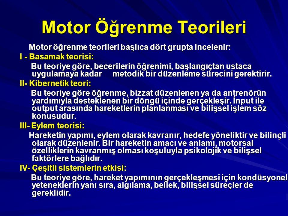 Motor Öğrenme Teorileri Motor öğrenme teorileri başlıca dört grupta incelenir: I - Basamak teorisi: Bu teoriye göre, becerilerin öğrenimi, başlangıçta