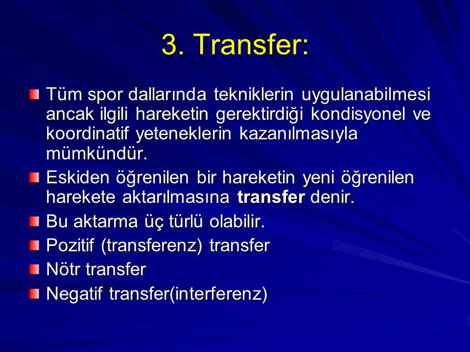 3. Transfer: Tüm spor dallarında tekniklerin uygulanabilmesi ancak ilgili hareketin gerektirdiği kondisyonel ve koordinatif yeteneklerin kazanılmasıyl