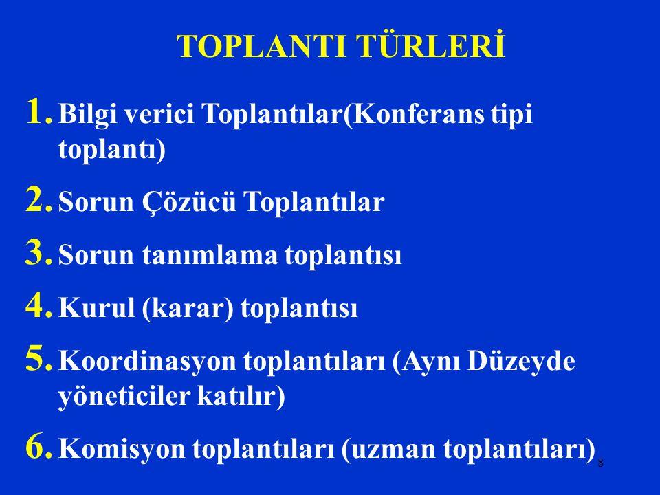 8 TOPLANTI TÜRLERİ 1.Bilgi verici Toplantılar(Konferans tipi toplantı) 2.