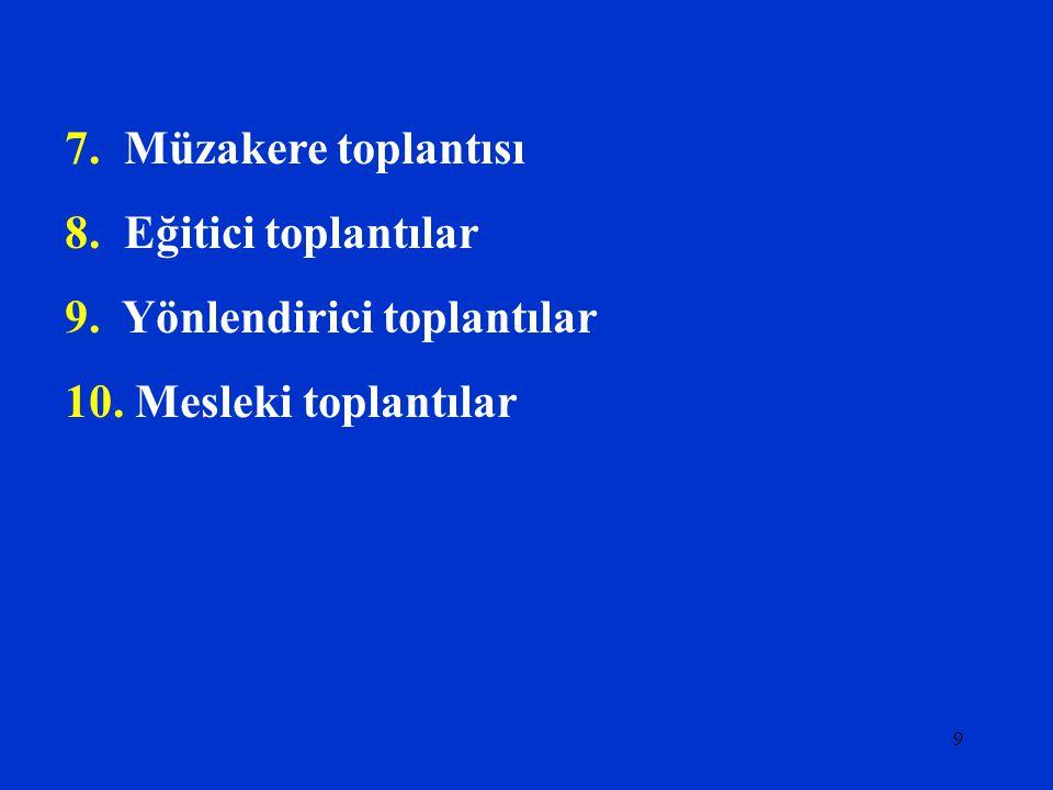 8 TOPLANTI TÜRLERİ 1. Bilgi verici Toplantılar(Konferans tipi toplantı) 2. Sorun Çözücü Toplantılar 3. Sorun tanımlama toplantısı 4. Kurul (karar) top