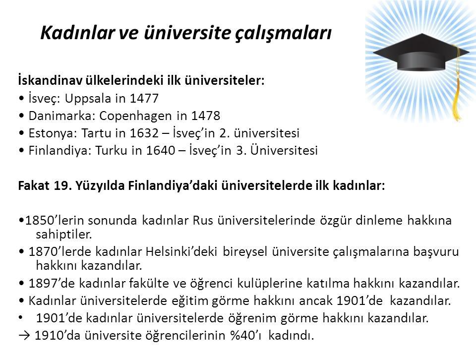 Kadınlar ve üniversite çalışmaları İskandinav ülkelerindeki ilk üniversiteler: • İsveç: Uppsala in 1477 • Danimarka: Copenhagen in 1478 • Estonya: Tar