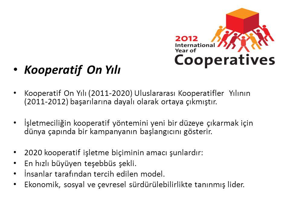 • Kooperatif On Yılı • Kooperatif On Yılı (2011-2020) Uluslararası Kooperatifler Yılının (2011-2012) başarılarına dayalı olarak ortaya çıkmıştır. • İş