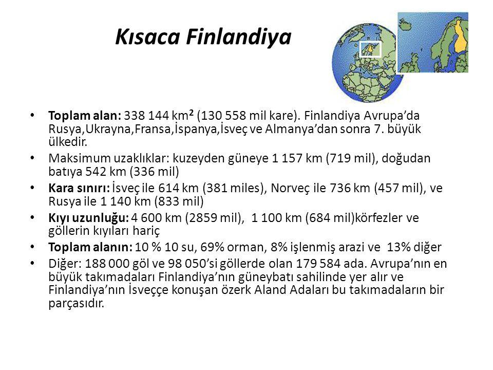 Kısaca Finlandiya • Toplam alan: 338 144 km 2 (130 558 mil kare). Finlandiya Avrupa'da Rusya,Ukrayna,Fransa,İspanya,İsveç ve Almanya'dan sonra 7. büyü