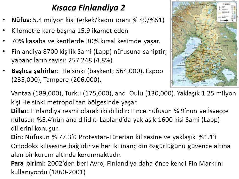 Kısaca Finlandiya 2 • Nüfus: 5.4 milyon kişi (erkek/kadın oranı % 49/%51) • Kilometre kare başına 15.9 ikamet eden • 70% kasaba ve kentlerde 30% kırsa