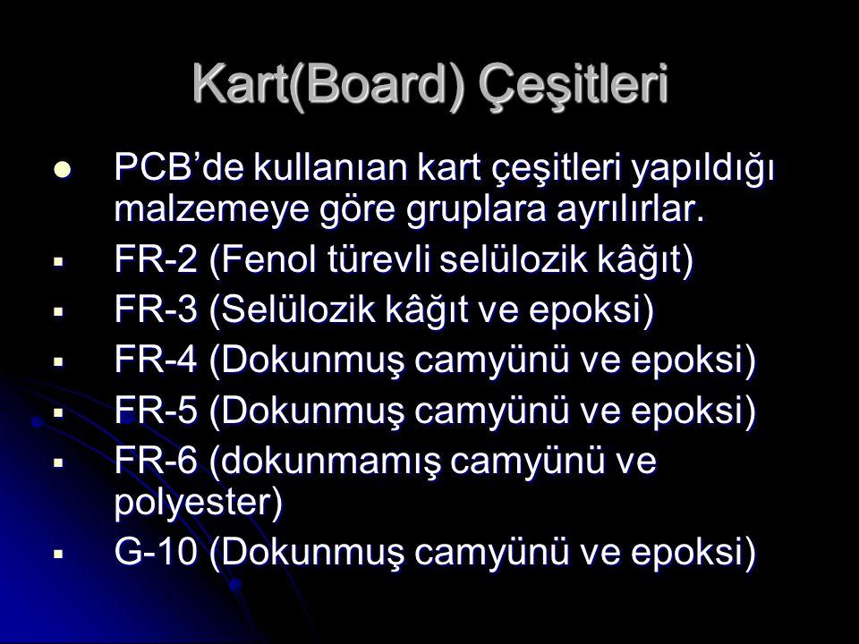 Kart(Board) Çeşitleri  PCB'de kullanıan kart çeşitleri yapıldığı malzemeye göre gruplara ayrılırlar.  FR-2 (Fenol türevli selülozik kâğıt)  FR-3 (S